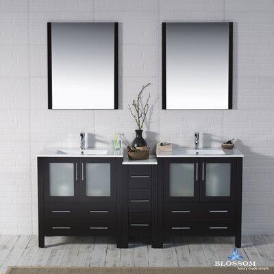Mance 72 Double Bathroom Vanity Set with Mirror Base Finish: Espresso