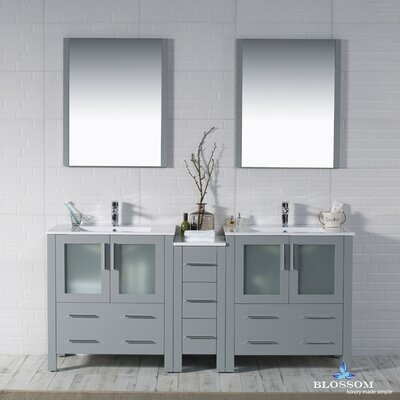 Mance 72 Double Bathroom Vanity Set with Mirror Base Finish: Metal Gray