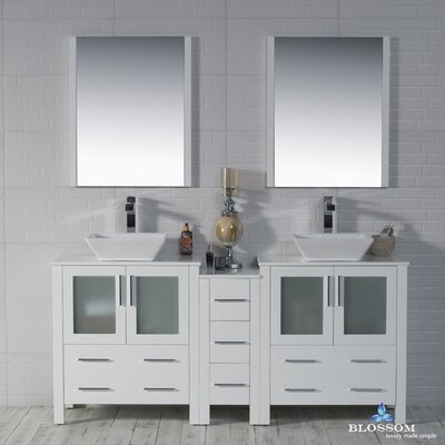 Mance 72 Double Bathroom Vanity Set with Mirror Base Finish: Glossy White