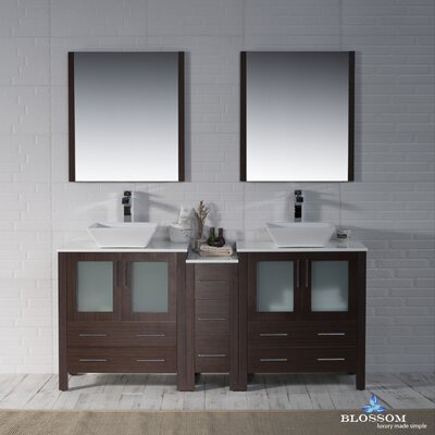 Mance 72 Double Bathroom Vanity Set with Mirror Base Finish: Wenge