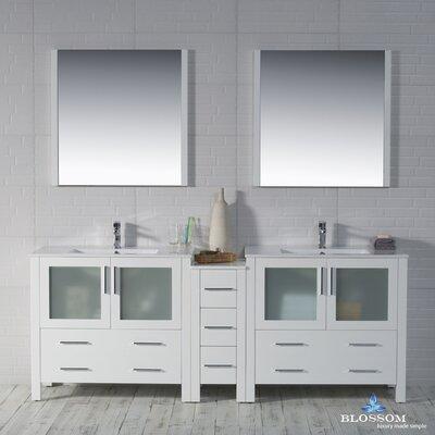 Mance Modern 84 Double Bathroom Vanity Set with Mirror Base Finish: Glossy White