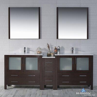 Mance Modern 84 Double Bathroom Vanity Set with Mirror Base Finish: Wenge