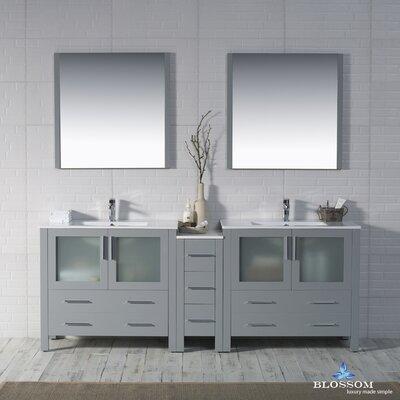 Mance Modern 84 Double Bathroom Vanity Set with Mirror Base Finish: Metal Gray