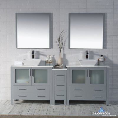 Mance 84 Double Bathroom Vanity Set with Rectangular Mirror Base Finish: Metal Gray
