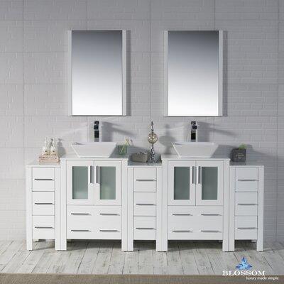 Mance 84 Double Bathroom Vanity Set with Wood Framed Mirror Base Finish: Glossy White