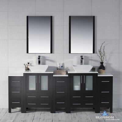 Mance 84 Double Bathroom Vanity Set with Wood Framed Mirror Base Finish: Espresso