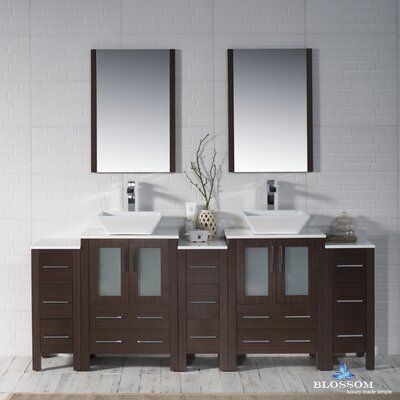 Mance 84 Double Bathroom Vanity Set with Wood Framed Mirror Base Finish: Wenge