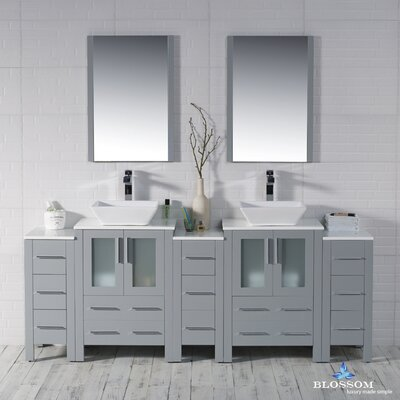 Mance 84 Double Bathroom Vanity Set with Wood Framed Mirror Base Finish: Metal Gray