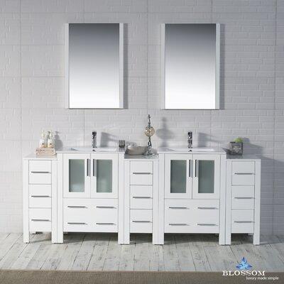 Mance 84 Double Bathroom Vanity Set with Mirror Base Finish: Glossy White