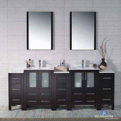 Mance 84 Double Bathroom Vanity Set with Mirror Base Finish: Espresso