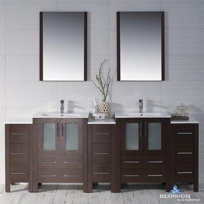Mance 84 Double Bathroom Vanity Set with Mirror Base Finish: Wenge
