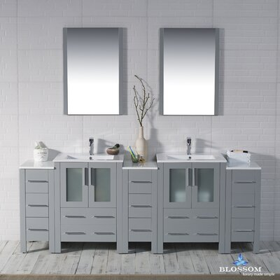 Mance 84 Double Bathroom Vanity Set with Mirror Base Finish: Metal Gray