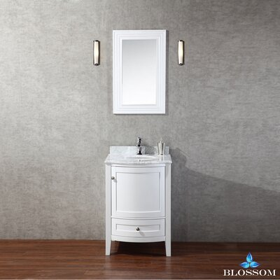Glendale 24 Single Bathroom Vanity Set with Mirror Base Finish: White