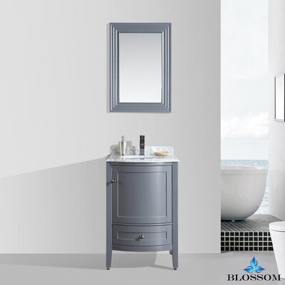 Glendale 24 Single Bathroom Vanity Set with Mirror Base Finish: Charcoal Gray