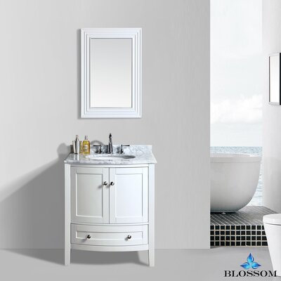 Glendale 30 Single Bathroom Vanity Set with Mirror Base Finish: White
