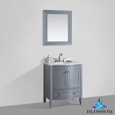 Glendale 30 Single Bathroom Vanity Set with Mirror Base Finish: Charcoal Gray