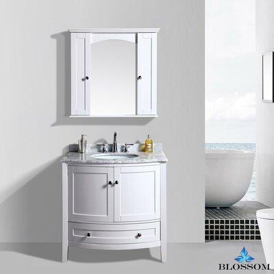 Glendale 36 Single Bathroom Vanity Set with Mirror Base Finish: White