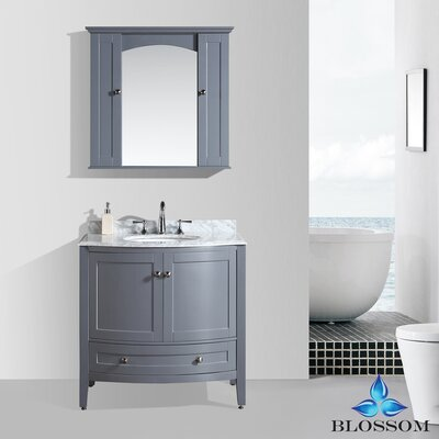 Glendale 36 Single Bathroom Vanity Set with Mirror Base Finish: Charcoal Gray