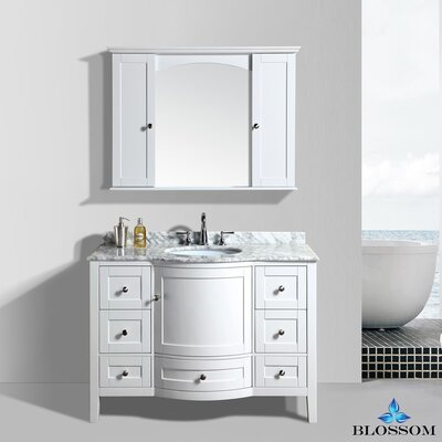 Glendale 48 Single Bathroom Vanity Set with Mirror Base Finish: White