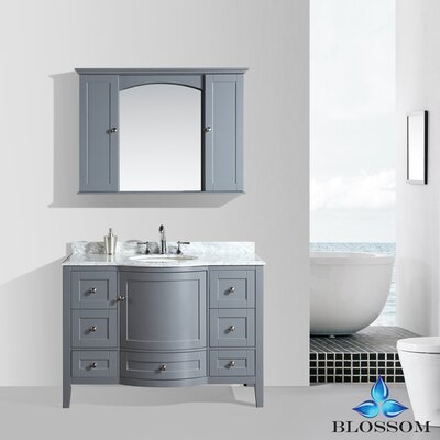 Glendale 48 Single Bathroom Vanity Set with Mirror Base Finish: Charcoal Gray