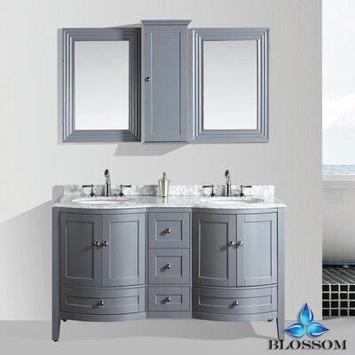 Glendale 60 Double Bathroom Vanity Set with Mirror Base Finish: Charcoal Gray