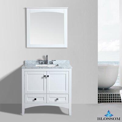 Mance 36 Single Bathroom Vanity Set with Mirror Base Finish: White