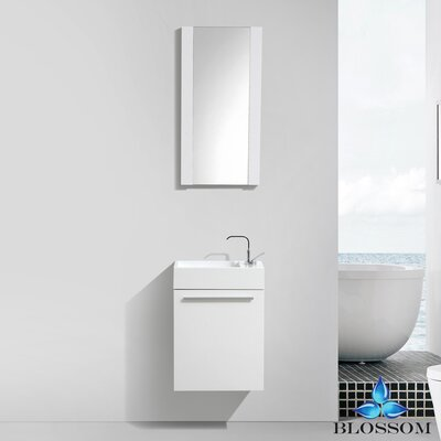Mandel 18 Single Bathroom Vanity Set with Mirror Base Finish: Glossy White