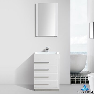 Manders 24 Single Bathroom Vanity Set with Mirror Base Finish: Glossy White