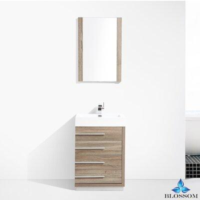 Manders 24 Single Bathroom Vanity Set with Mirror Base Finish: Cart Oak