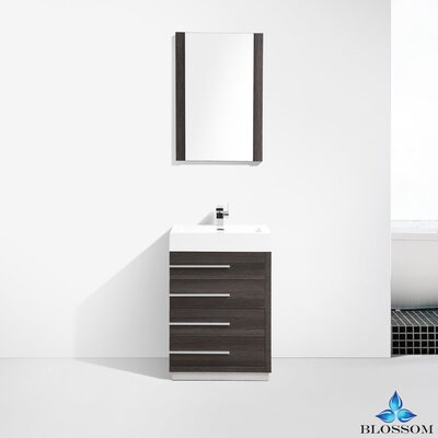 Manders 24 Single Bathroom Vanity Set with Mirror Base Finish: Dark Oak