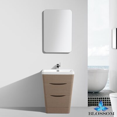 Mandurah 26 Single Bathroom Vanity Set with Mirror Base Finish: Light Pine