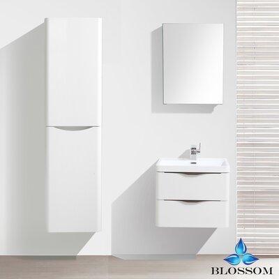 Manes 24 Single Bathroom Vanity Set with Mirror Base Finish: White Wood