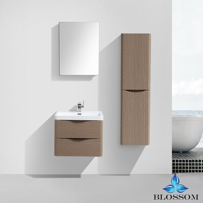 Manes 24 Single Bathroom Vanity Set with Mirror Base Finish: Light Pine