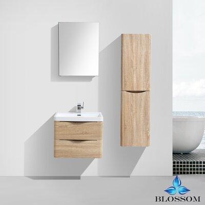 Manes 24 Single Bathroom Vanity Set with Mirror Base Finish: White Oak