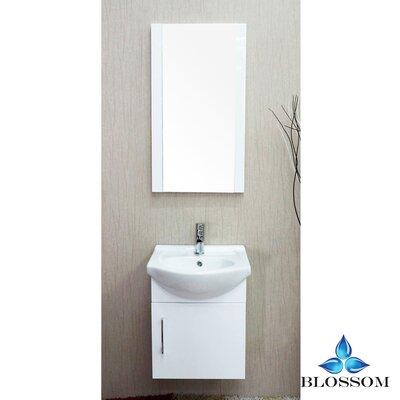 Conrad 18 Single Bathroom Vanity Set with Mirror Base Finish: Glossy White