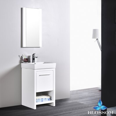 Artemis Modern 20 Single Bathroom Vanity Set with Mirror Base Finish: Glossy White