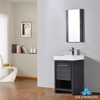 Artemis Modern 20 Single Bathroom Vanity Set with Mirror Base Finish: Silver Gray