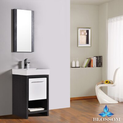 Artemis Modern 20 Single Bathroom Vanity Set with Mirror Base Finish: Silver Gray/Glossy White