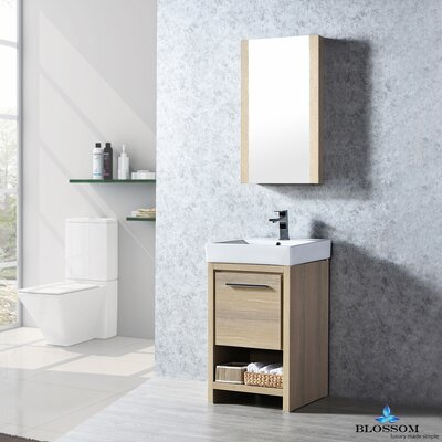 Artemis Modern 20 Single Bathroom Vanity Set with Mirror Base Finish: Briccole Oak