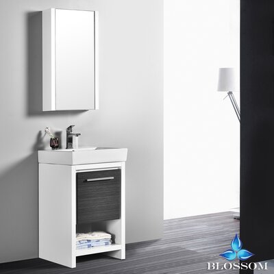 Artemis 20 Single Bathroom Vanity Set with Mirror Base Finish: Glossy White/Silver Gray