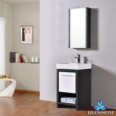 Artemis 20 Single Bathroom Vanity Set with Mirror Base Finish: Silver Gray/Glossy White