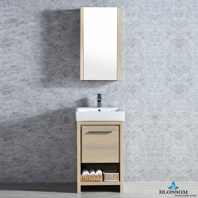 Artemis 20 Single Bathroom Vanity Set with Mirror Base Finish: Briccole Oak