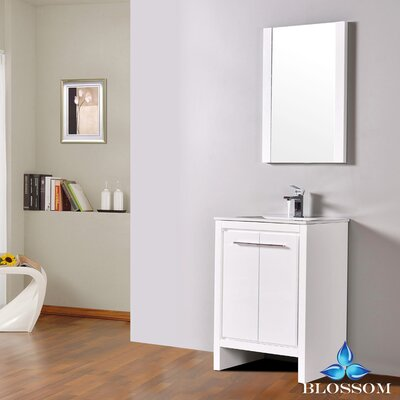 Artemis Modern 23 Single Bathroom Vanity Set with Mirror Base Finish: Glossy White