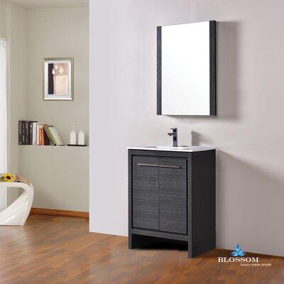 Artemis Modern 23 Single Bathroom Vanity Set with Mirror Base Finish: Silver Gray