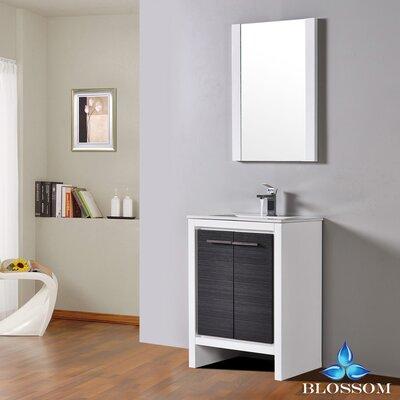 Artemis Modern 23 Single Bathroom Vanity Set with Mirror Base Finish: Glossy White/Silver Gray
