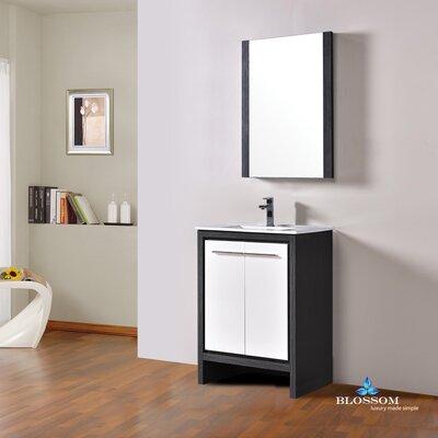 Artemis Modern 23 Single Bathroom Vanity Set with Mirror Base Finish: Silver Gray/Glossy White