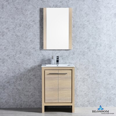 Artemis Modern 23 Single Bathroom Vanity Set with Mirror Base Finish: Briccole Oak
