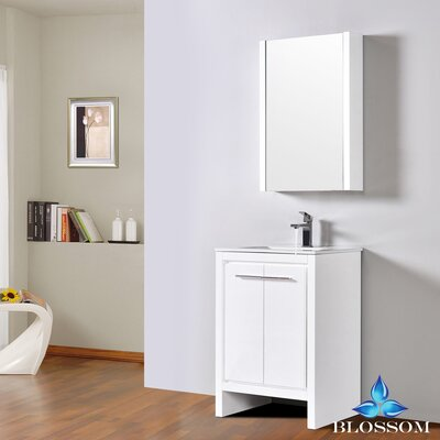 Artemis 23 Single Bathroom Vanity Set with Mirror Base Finish: Glossy White