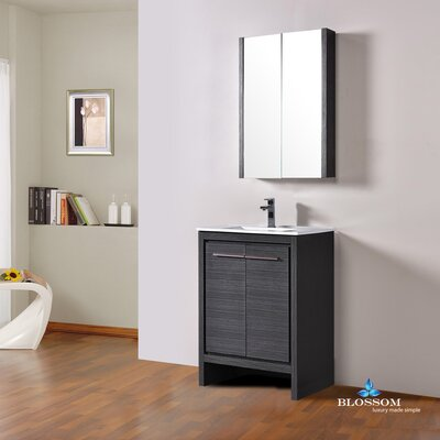 Artemis 23 Single Bathroom Vanity Set with Mirror Base Finish: Silver Gray