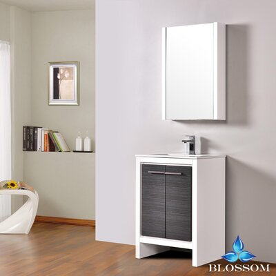 Artemis 23 Single Bathroom Vanity Set with Mirror Base Finish: Glossy White/Silver Gray
